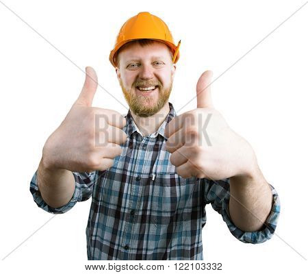 Man in a orange helmet shows that all is well