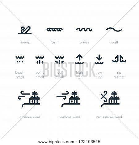 Surfing weather icons set, linear design isolated