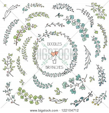 Vector Doodles branches, leaves, natural decor elements set for hand sketched cards, laurels wreath.Design template, invitations, logo.Vintage  wedding, Valentine day, birthday, Easter holiday