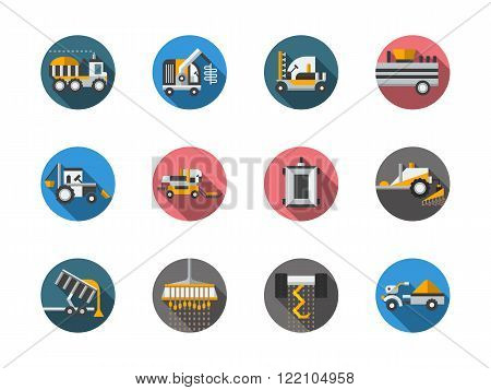 Equipment for farming round color vector icons