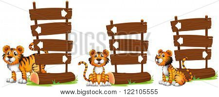 Tiger nex to wooden signs illustration