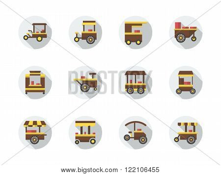 Street food stores round flat color vector icons