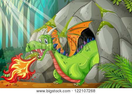 Dragon in the cave blowing fire illustration