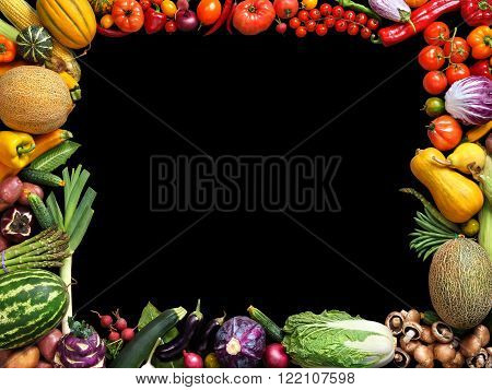 Deluxe eating background. Food photography different fruits and vegetables isolated black background. Copy space. High resolution product