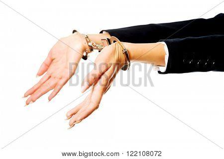 Businesswoman hands with handcuffs