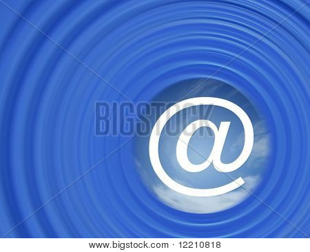 Illustration showing e-mail symbol in the centre of a curve abstract pattern