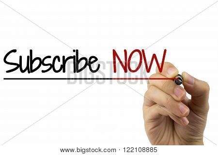Woman hand writing Subscribe Now with black pen