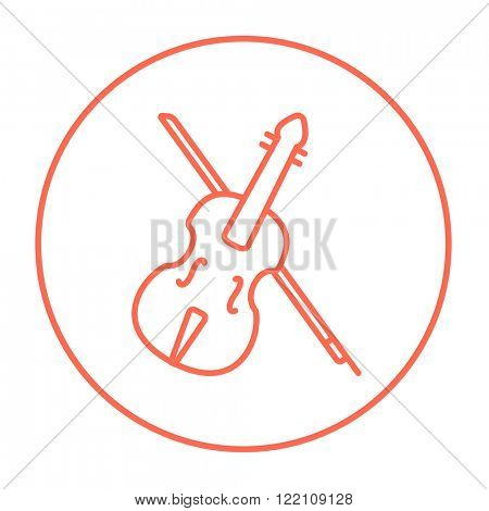 Violin with bow line icon.