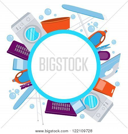 Frame laundry. Washing machine and laundry detergent. Vector illustration