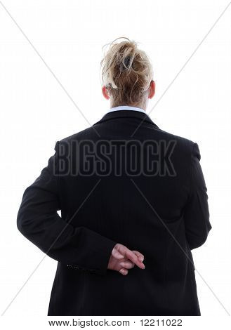 Liar Businesswoman With Crossed Fingers At Back