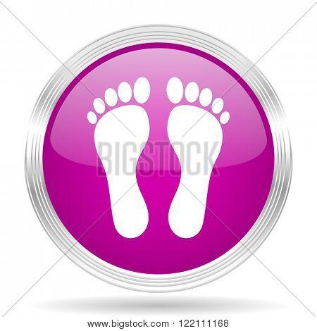 foot pink modern web design glossy circle icon