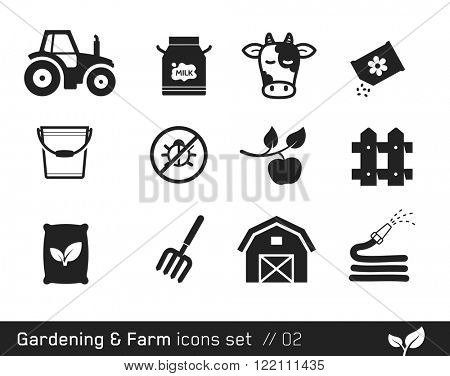 Farm icon set  // Black and White