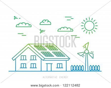 Ecology power concept. New energy type. Alternative energy. Alternative wind energy station. New eco energy vector illustration. Ecology concept. Eco energy concept outline. Alternative energy type.