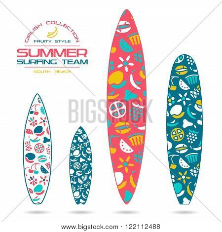 Fruit  Prints In Flat Style For Surfboards