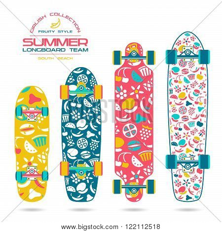 Fruit Print On A Longboard And Skateboard