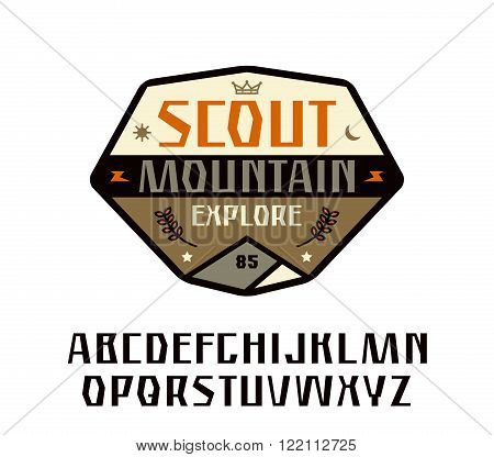 Sanserif font and scout patch. Graphic design for t-shirt. Color print on white background