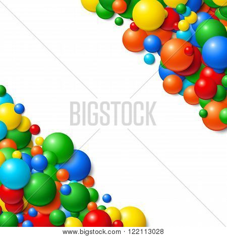 Background with scatterd messy glowing rubber balls