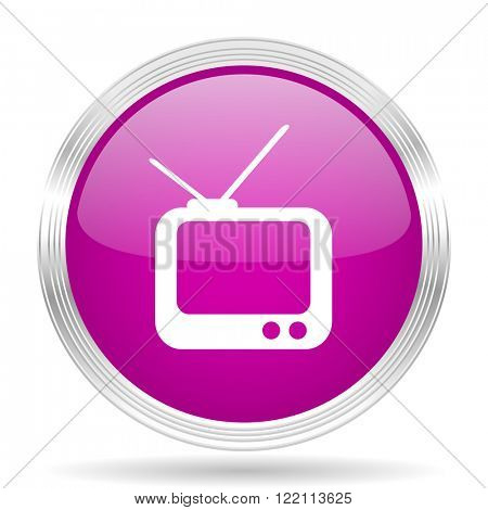 tv pink modern web design glossy circle icon