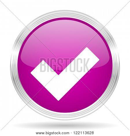 accept pink modern web design glossy circle icon