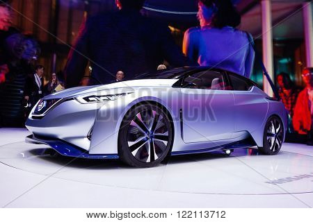 Geneva, Switzerland - March 1, 2016: Nissan IDS Concept, front-side view presented on the 86th Geneva Motor Show in the PalExpo