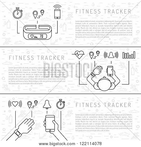 Fitness tracker with pedometer function. Fitness tracker with heart rate monitor. Fitness tracker with alarm function. Sync your fitness tracker with your smartphone. Outline style.