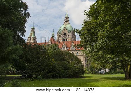 City hall in Hanover Germany at summer day.