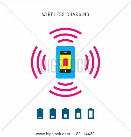 Wireless charging phones. Wireless charging phones outline. Wireless battery charge.