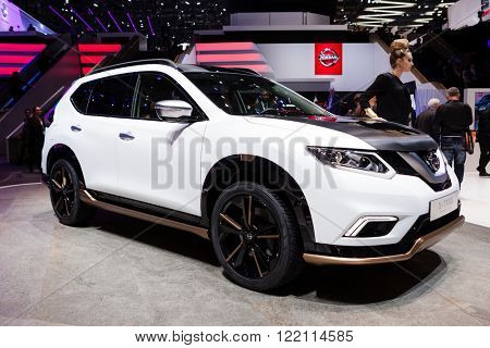 Geneva, Switzerland - March 1, 2016: Nissan X-Trail Premium Concept, front-side view presented on the 86th Geneva Motor Show in the PalExpo