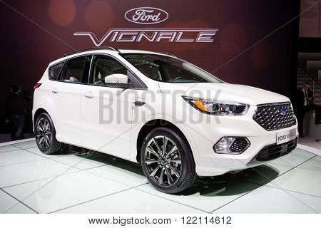Geneva, Switzerland - March 1, 2016: Ford Kuga Vignale Concept, front-side view presented on the 86th Geneva Motor Show in the PalExpo