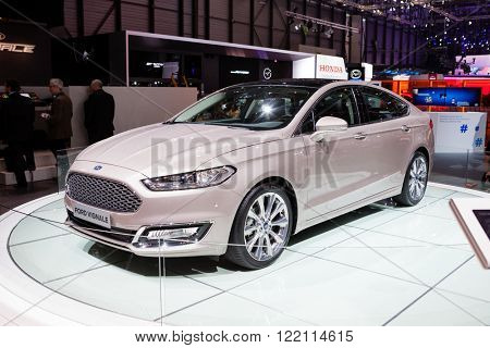 Geneva, Switzerland - March 1, 2016: Ford Mondeo Vignale, front-side view presented on the 86th Geneva Motor Show in the PalExpo