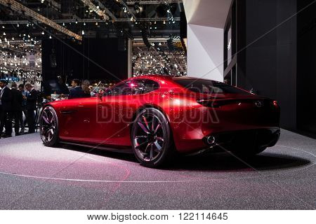 Geneva, Switzerland - March 1, 2016: Mazda RX-Vison Concept, rear-side view presented on the 86th Geneva Motor Show in the PalExpo