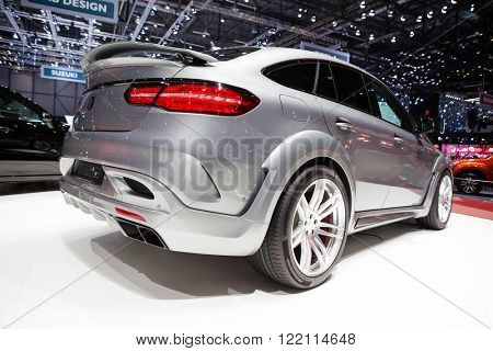 Geneva, Switzerland - March 1, 2016: Hamann Mercedes-Benz GLE Coupe, rear-side view presented on the 86th Geneva Motor Show in the PalExpo
