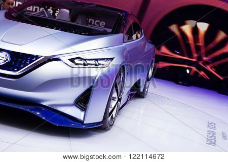 Geneva, Switzerland - March 1, 2016: Nissan IDS Concept, front closeup view presented on the 86th Geneva Motor Show in the PalExpo