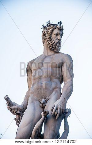 Neptune fountain in Florence, Italy. One of the main attraction on Piazza della Signoria, was build in 16th century by sculptor Bartolomeo Ammannati.
