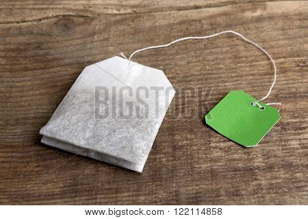 Teabag On Wooden Background