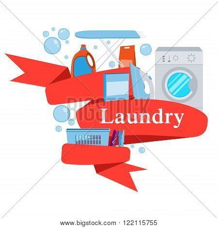 Red Ribbon laundry. Washing machine and laundry detergent. Vector illustration