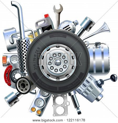 Vector Truck Spares Concept isolated on white background
