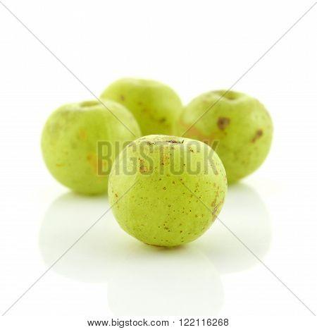 Indian gooseberries vegetarian berry  on white background