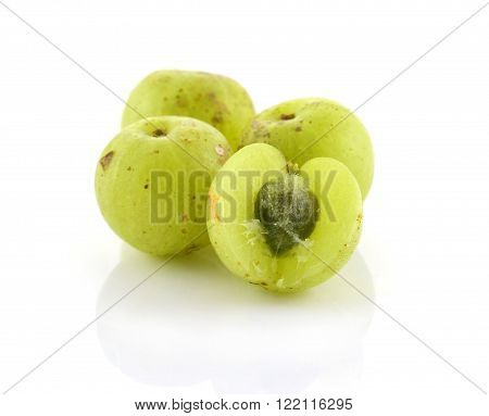 Indian gooseberries berry sweet  on white background