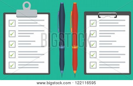 Illustrated Clipboard with checklist or survey paper and blue and orange pen. Flat color vector graphic.