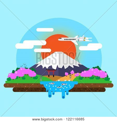 landscape of Mount Fuji at sunrise. torii gates. Carps Koi in the pond. Sakura blossoms. Vector flat illustration.