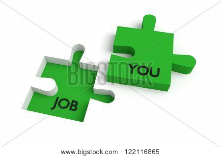 Missing puzzle piece, a job for you, green, jigsaw on a white background