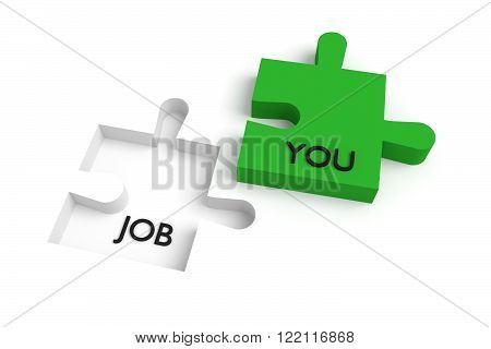 Missing puzzle piece, a job for you, green and white, jigsaw on a white background