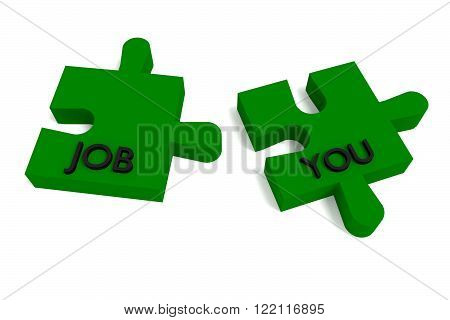 Green Puzzle, a job for you, jigsaw on a white background
