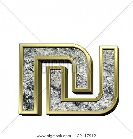 Sheqel sign from granite with gold frame alphabet set isolated over white. Computer generated 3D photo rendering.