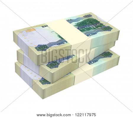 Jamaican dollar bills isolated on white background. Computer generated 3D photo rendering.