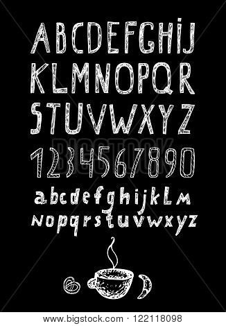Chalk drawn alphabet and numbers hand drawn collection