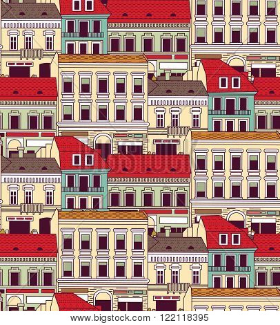 City buildings down town color seamless pattern.