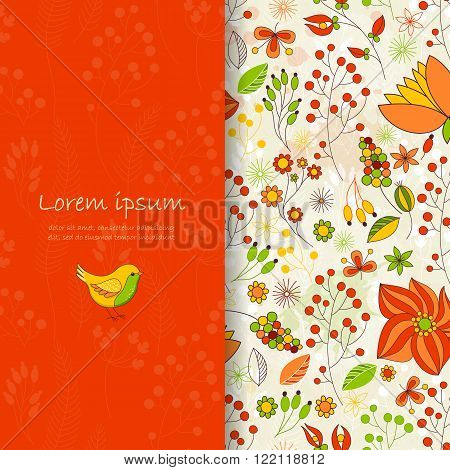 Vector card with floral pattern. Cute colorful floral background. Romantic card. Place for your text. Perfect for greetings, invitations or announcements.