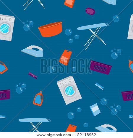 Seamless pattern laundry. Washing machine and laundry detergent. Vector illustration